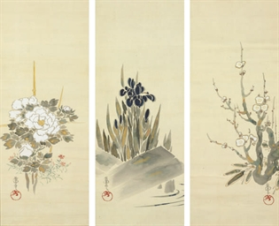 A JAPANESE TRIPTYCH OF HANGING