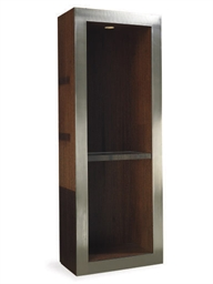 A STEEL AND WENGE TALL-CABINET