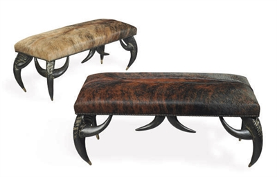 A PAIR OF FAUX HORN AND COWHID