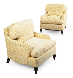 A PAIR OF FORTUNY UPHOLSTERED