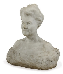 A WHITE MARBLE BUST OF A LADY,