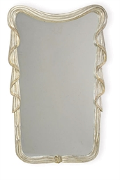 A SILVERED WOOD MIRROR,