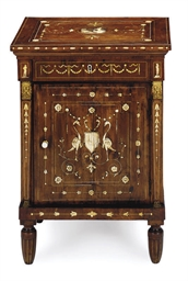 AN ITALIAN IVORY INLAID WALNUT