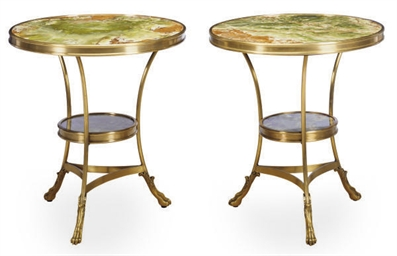 A PAIR OF GILT-METAL AND ONYX
