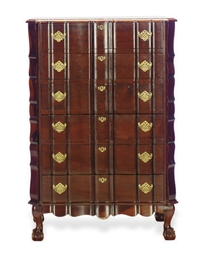 A MAHOGANY CHEST-OF-DRAWERS,