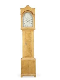 A PINE LONGCASE CLOCK,