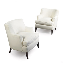A PAIR OF WHITE UPHOLSTERED CL