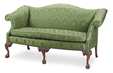 A MAHOGANY AND GREEN DAMASK UP