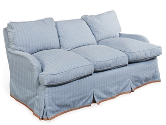 A BLUE UPHOLSTERED THREE-SEAT