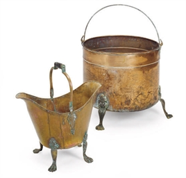 A COPPER AND BRASS LOG BUCKET