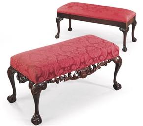 TWO MAHOGANY AND RED DAMASK UP