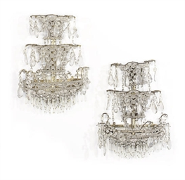 A PAIR OF THREE-TIERED GLASS B