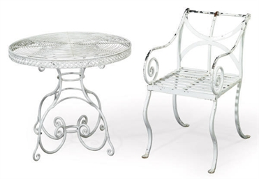 A SUITE OF WHITE-PAINTED IRON GARDEN FURNITURE