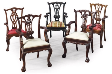 A GROUP OF FIVE MAHOGANY CHILD