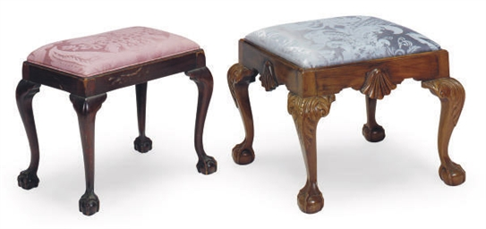 TWO ENGLISH MAHOGANY FOOT STOO