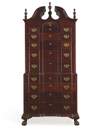 A MAHOGANY CHEST-ON-CHEST,