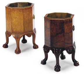 TWO WALNUT OCTAGONAL JARDINIER