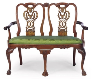 A MAHOGANY DOUBLE-CHAIR BACK S