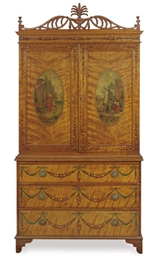 AN EDWARDIAN SATINWOOD AND PAI