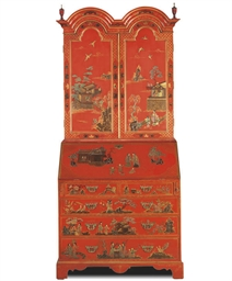 A RED AND GILT-JAPANNED BUREAU