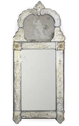 A VENETIAN ETCHED GLASS MIRROR