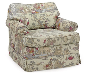 A GREY-GROUND TOILE-UPHOLSTERE