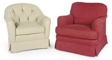 A PAIR OF RED UPHOLSTERED CLUB