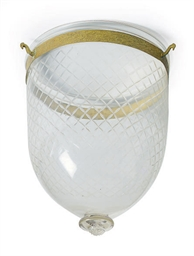 A CUT-GLASS AND GILT-METAL HAL