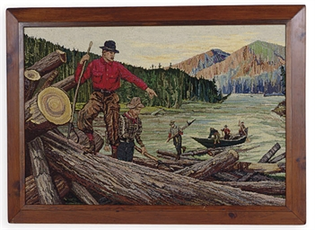 AN AMERICAN FRAMED HOOKED RUG