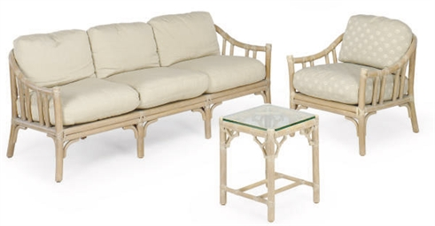 A SUITE OF FAUX BAMBOO AND RAW