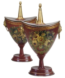 A PAIR OF REGENCY POLYCHROME T