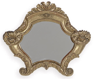 A CONTINENTAL GILTWOOD MIRROR,