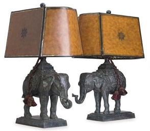 A PAIR OF BRONZE ELEPHANT-FORM