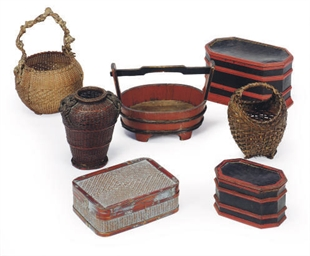 A GROUP OF BASKETS AND LACQUER