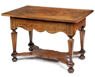 A DUTCH WALNUT AND MARQUETRY C
