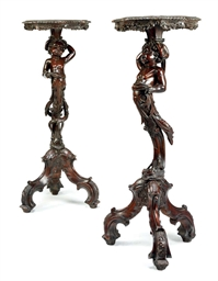A PAIR OF VENETIAN WALNUT AND