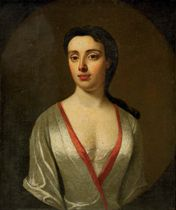 Portrait of a Rebecca Rutter of Moor Hall, Cheshire, in a white silk dress with a red trim, in a feigned oval