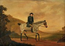 Portrait of Richard Davenport, small full-length up on his Roan Mare, in a landscape