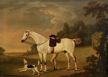A grey hunter with a groom and