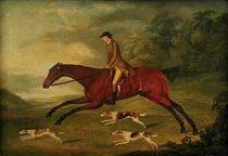 An equestrian portrait of a gentleman, traditionally identified as Mr. Heron, mounted on a bay hunter, with hounds in a landscape