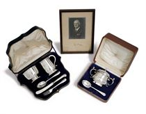 A GEORGE V SILVER FIVE PIECE CHRISTENING SET