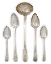 A GROUP OF GEORGE III PROVINCIAL SILVER OLD ENGLISH PATTERN FLATWARE
