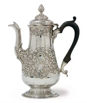 A GEORGE II PROVINCIAL SILVER COFFEE POT