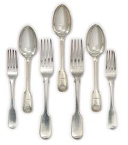 A GROUP OF GEORGE III SILVER OLD ENGLISH PATTERN FLATWARE