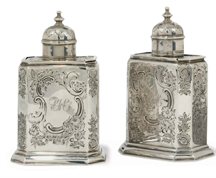 A PAIR OF GEORGE II SILVER OCT