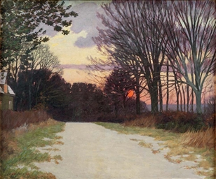 Sunset, a country lane