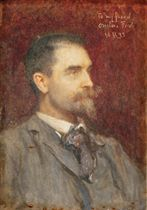 Portrait of Edward Onslow Ford, R.A. (1852-1901), small profile bust-length, in a grey suit
