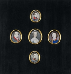A FRAME CONTAINING FIVE PORTRA