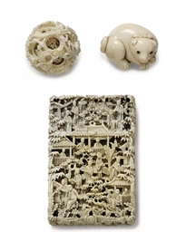 A CANTONESE IVORY CARD CASE