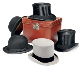 TWO SILK TOP HATS, A GREY FELT